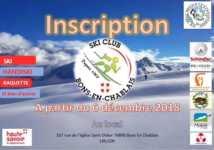 Les inscriptions au club : dès le 6 décembre 2018