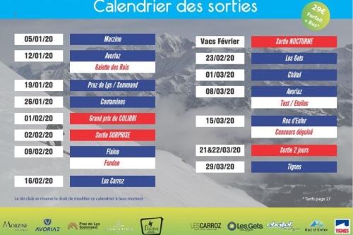 le calendrier des sorties 2019/2020