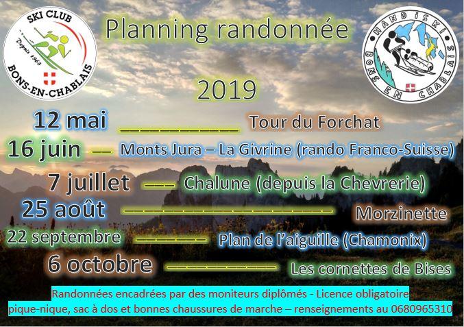 Calendrier Rando Jura 2020.Randonnees 2019 Ski Club Bons En Chablais